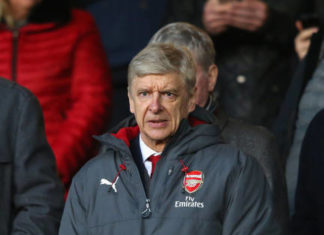 Arsene Wenger watches from the stands