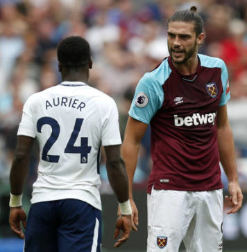 Aurier and Andy Carroll clash at West Ham