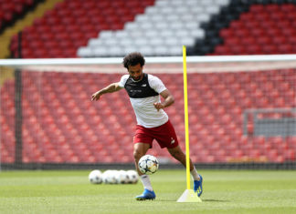 Mo Salah warming up for the Champions League Final