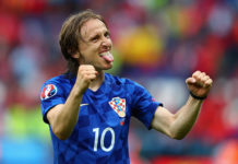 Luka Modric scores a penalty against Nigeria