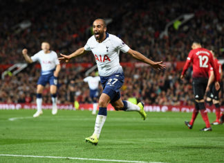 Hot property Lucas Moura scoring against Manchester United